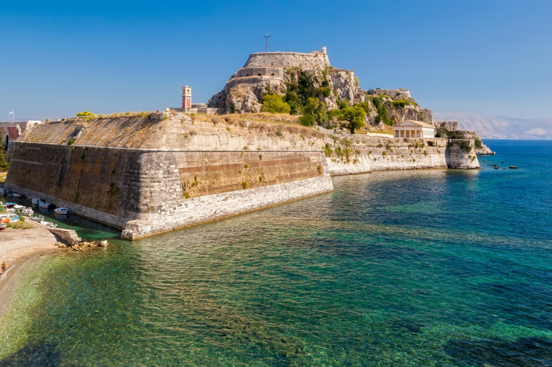 'Old fortress walls and clock tower Kerkyra city, Corfu, Greece' - Corfù